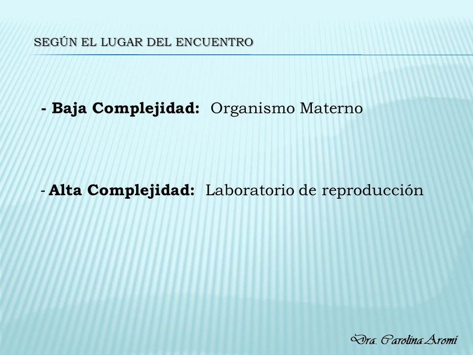 SEGÚN EL LUGAR DEL ENCUENTRO - Baja Complejidad: Organismo Materno - Alta Complejidad: Laboratorio de reproducción Dra. Carolina Aromí