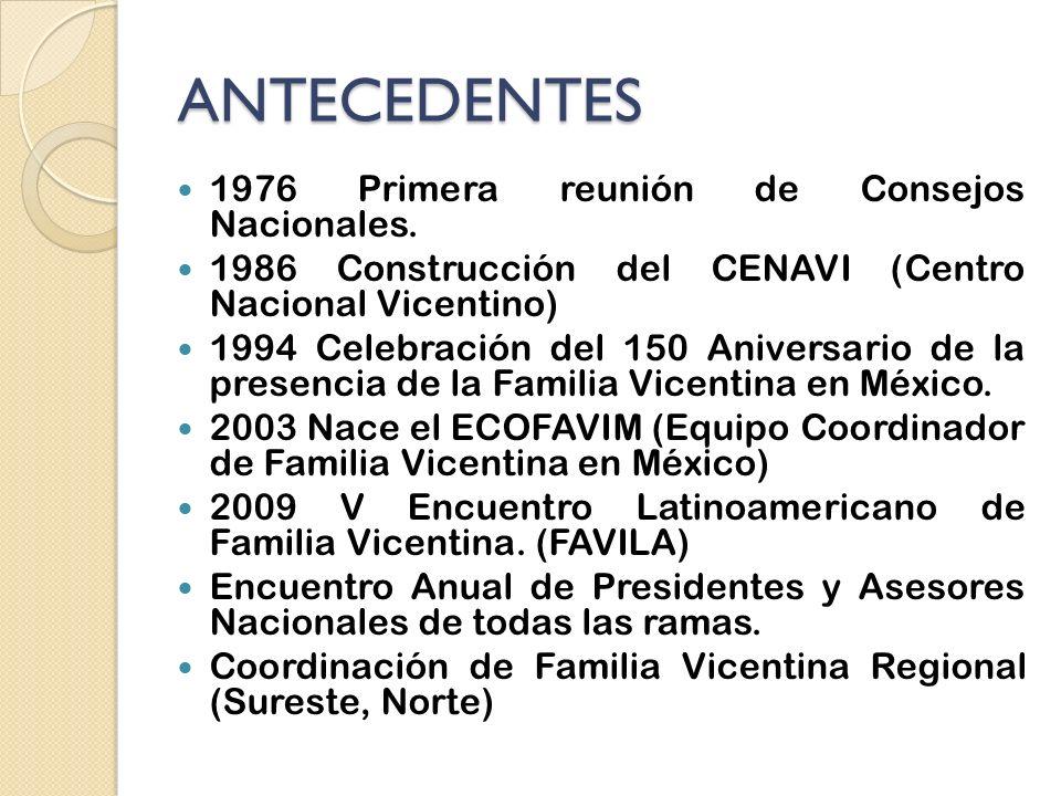 ANTECEDENTES 1976 Primera reunión de Consejos Nacionales.