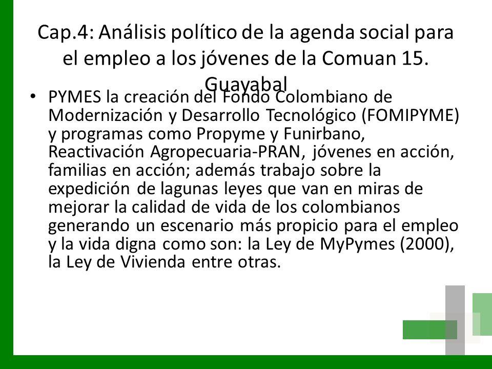 Cap.4: Análisis político de la agenda social para el empleo a los jóvenes de la Comuan 15. Guayabal PYMES la creación del Fondo Colombiano de Moderniz