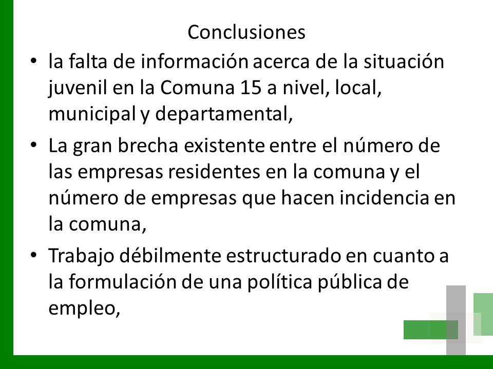 Conclusiones la falta de información acerca de la situación juvenil en la Comuna 15 a nivel, local, municipal y departamental, La gran brecha existent