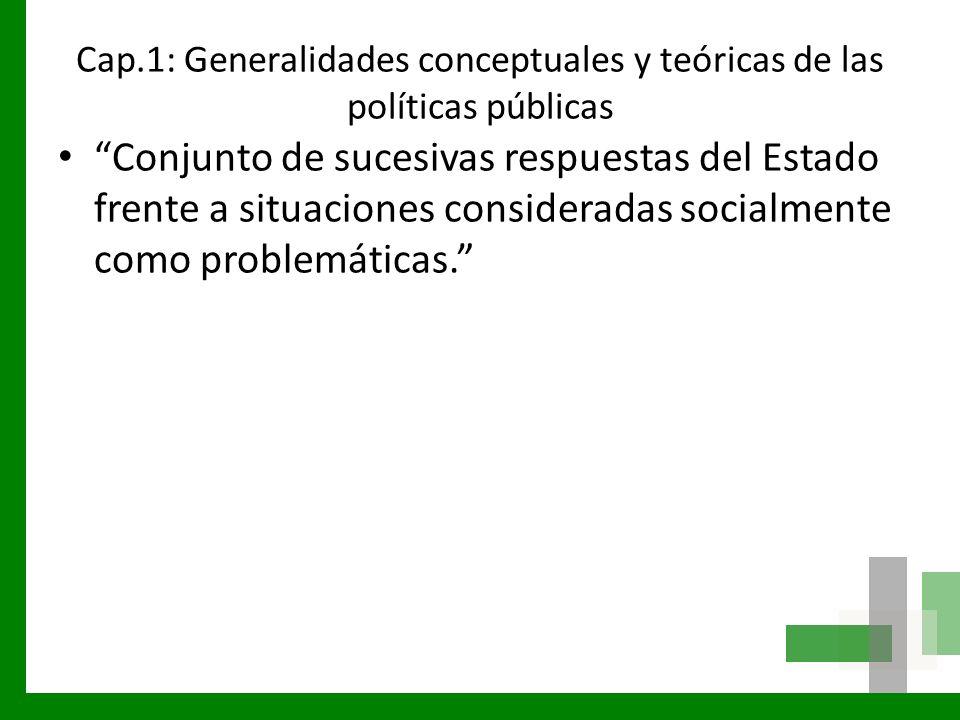 Cap.1: Generalidades conceptuales y teóricas de las políticas públicas Conjunto de sucesivas respuestas del Estado frente a situaciones consideradas s