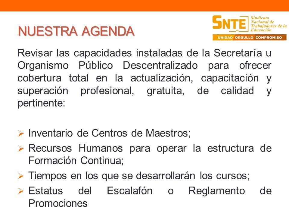 NUESTRA AGENDA Revisar las capacidades instaladas de la Secretaría u Organismo Público Descentralizado para ofrecer cobertura total en la actualizació