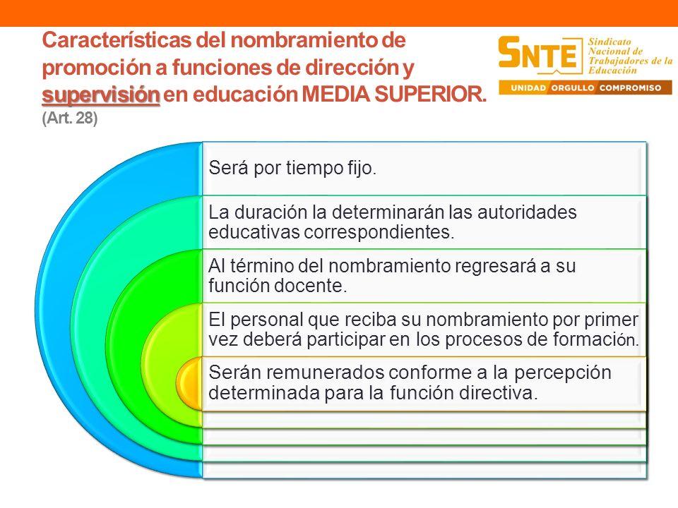 supervisión Características del nombramiento de promoción a funciones de dirección y supervisión en educación MEDIA SUPERIOR. (Art. 28) Será por tiemp