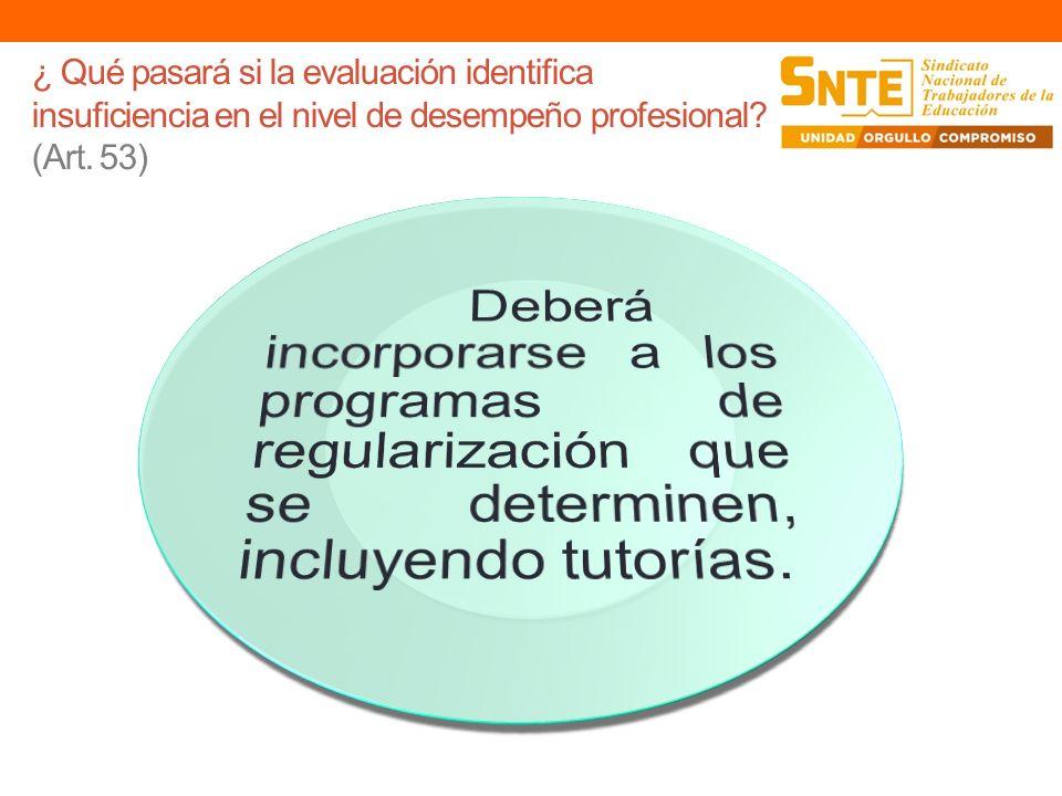 ¿ Qué pasará si la evaluación identifica insuficiencia en el nivel de desempeño profesional? (Art. 53)