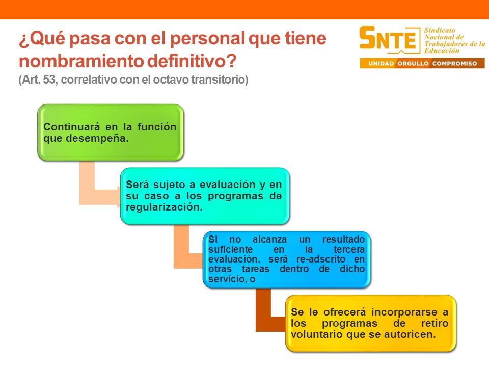 ¿Qué pasa con el personal que tiene nombramiento definitivo? (Art. 53, correlativo con el octavo transitorio) Continuará en la función que desempeña.