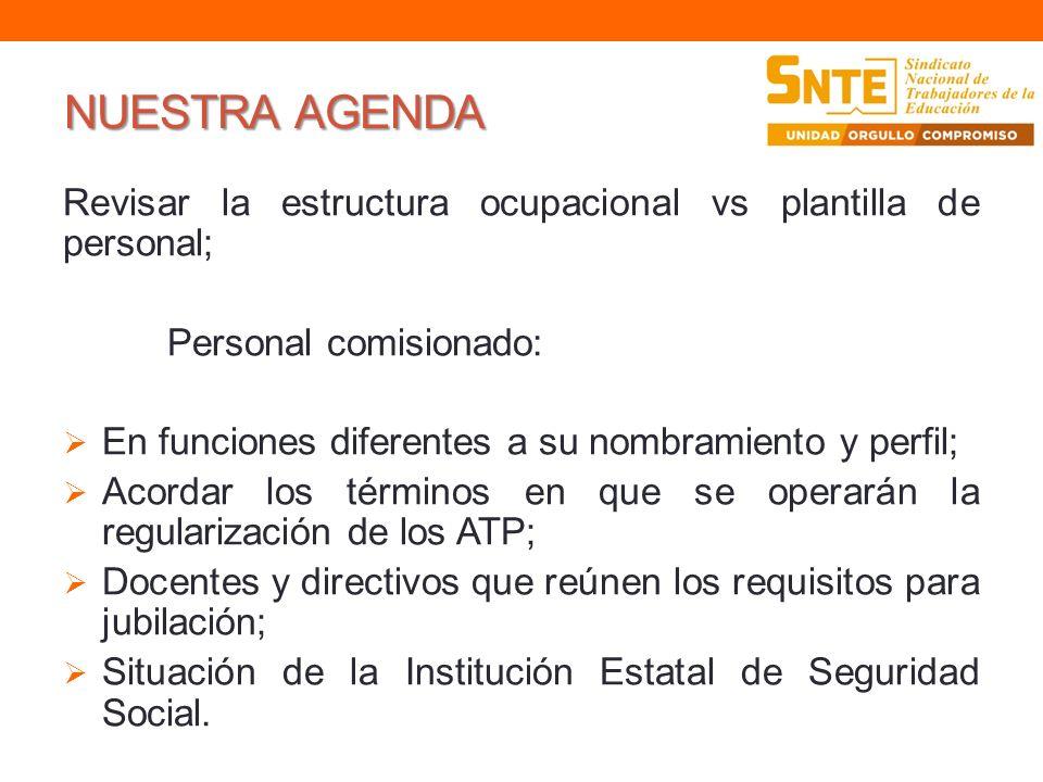 NUESTRA AGENDA Revisar la estructura ocupacional vs plantilla de personal; Personal comisionado: En funciones diferentes a su nombramiento y perfil; A