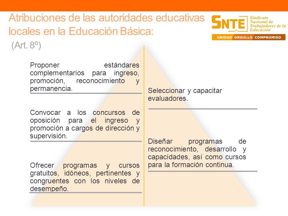 Atribuciones de las autoridades educativas locales en la Educación Básica: (Art. 8º) Seleccionar y capacitar evaluadores. Proponer estándares compleme