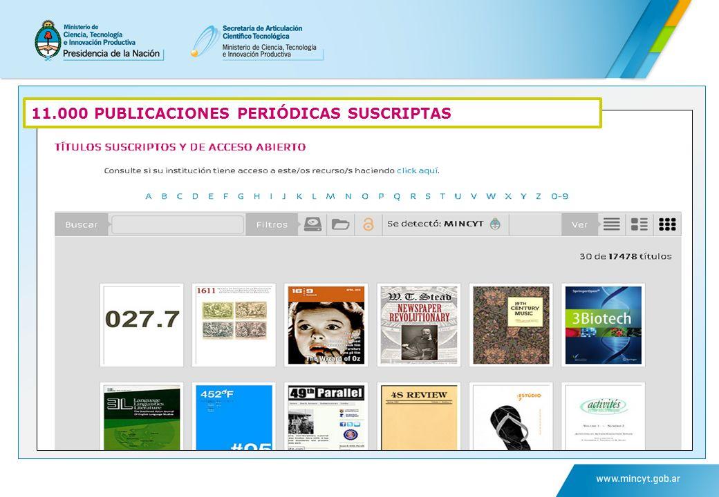 11.000 PUBLICACIONES PERIÓDICAS SUSCRIPTAS
