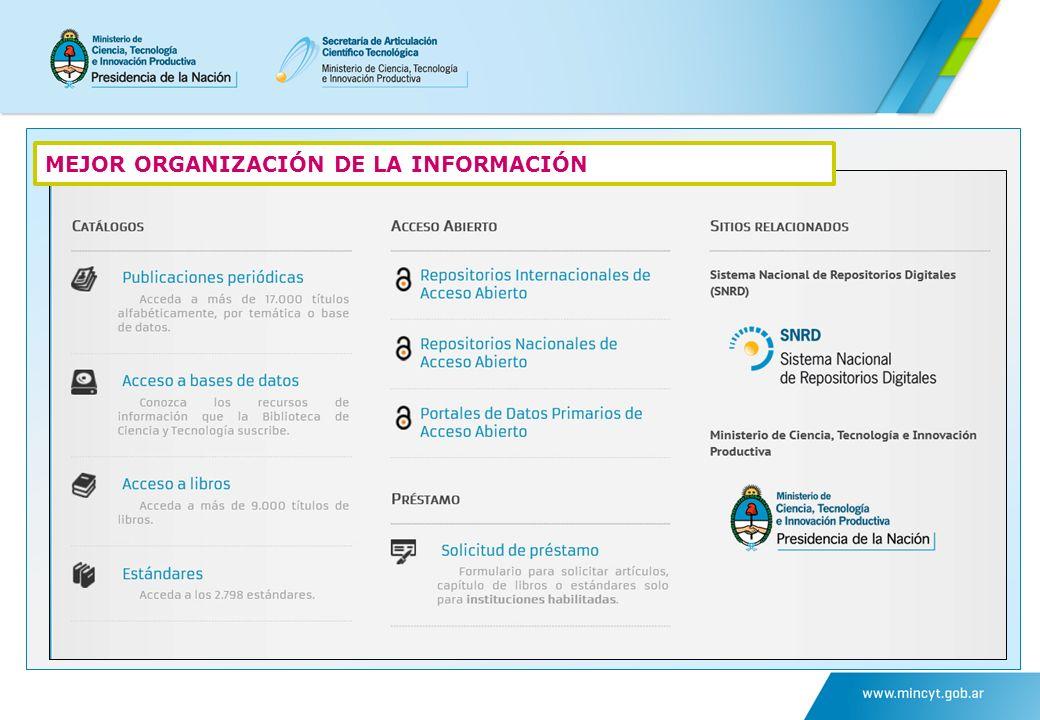 MEJOR ORGANIZACIÓN DE LA INFORMACIÓN