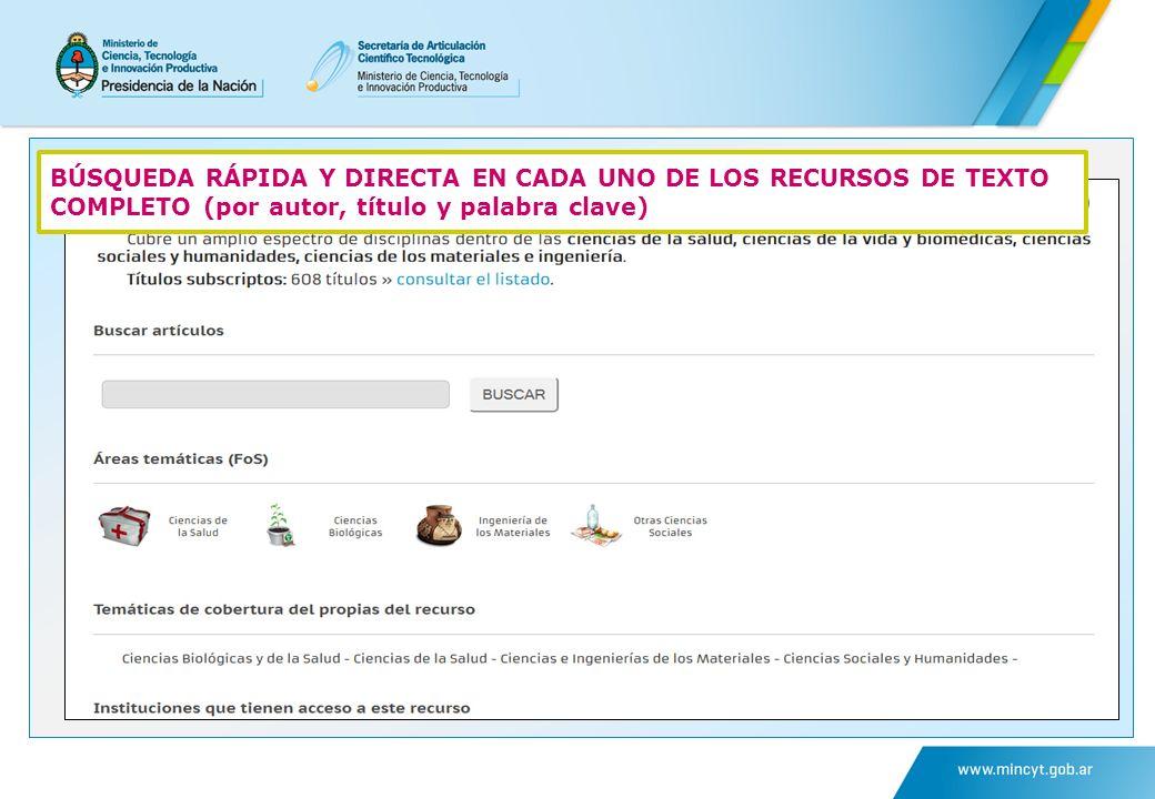 BÚSQUEDA RÁPIDA Y DIRECTA EN CADA UNO DE LOS RECURSOS DE TEXTO COMPLETO (por autor, título y palabra clave)