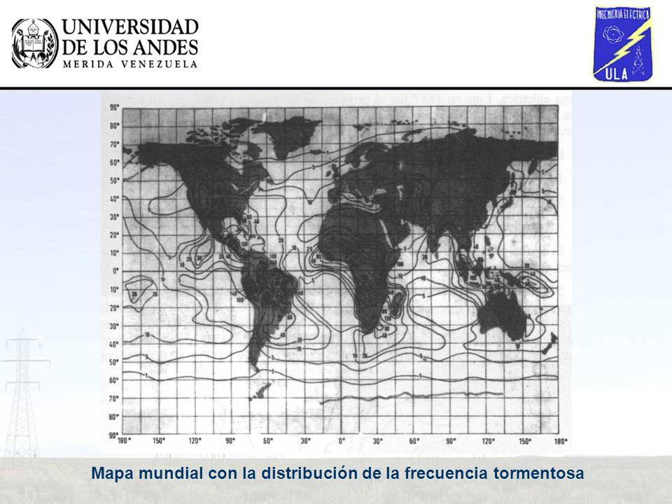 Mapa mundial con la distribución de la frecuencia tormentosa