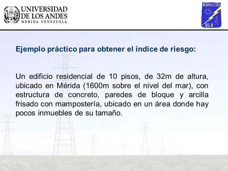 Ejemplo práctico para obtener el índice de riesgo: Un edificio residencial de 10 pisos, de 32m de altura, ubicado en Mérida (1600m sobre el nivel del