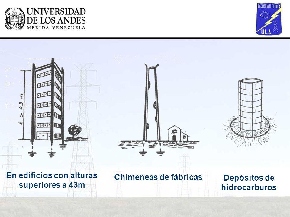 En edificios con alturas superiores a 43m Chimeneas de fábricas Depósitos de hidrocarburos
