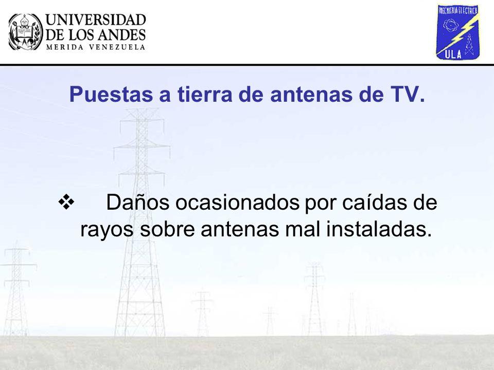 Puestas a tierra de antenas de TV. Daños ocasionados por caídas de rayos sobre antenas mal instaladas.
