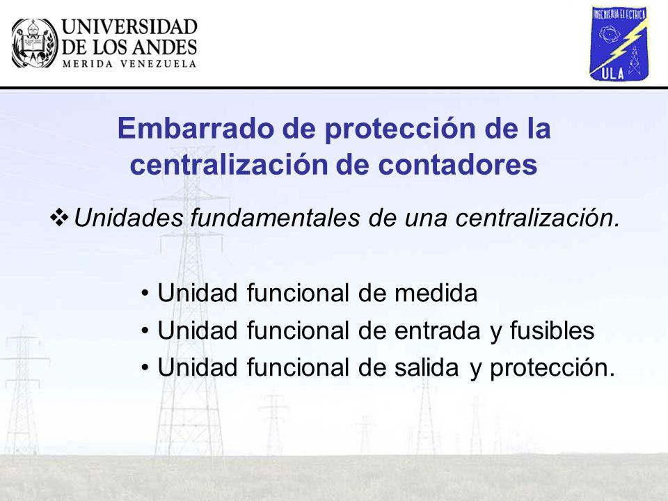 Embarrado de protección de la centralización de contadores Unidades fundamentales de una centralización. Unidad funcional de medida Unidad funcional d