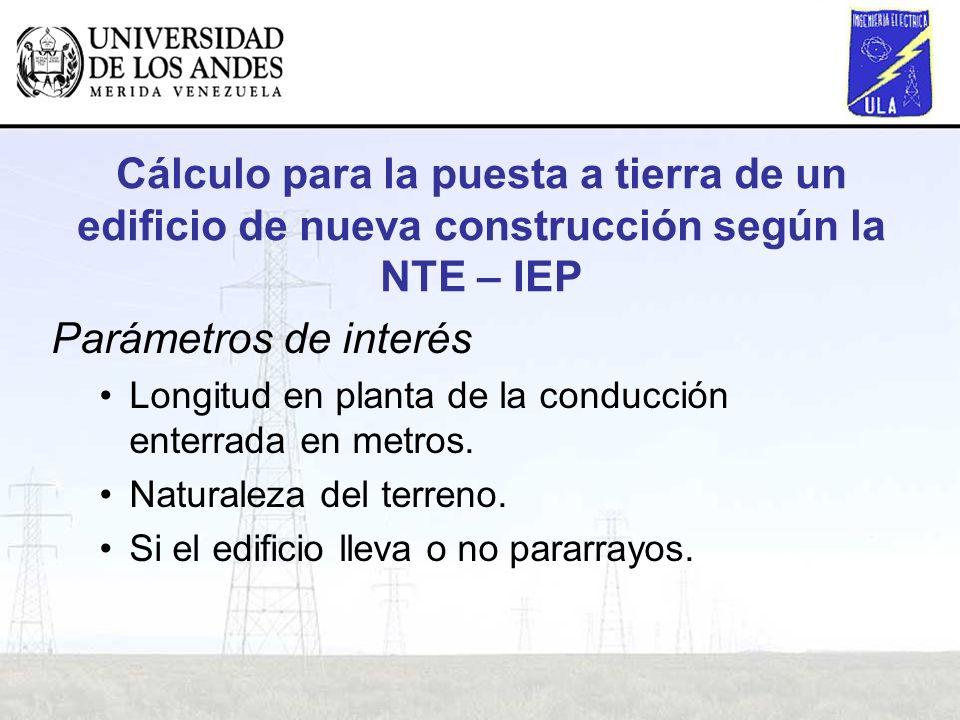 : Cálculo para la puesta a tierra de un edificio de nueva construcción según la NTE – IEP Parámetros de interés Longitud en planta de la conducción en