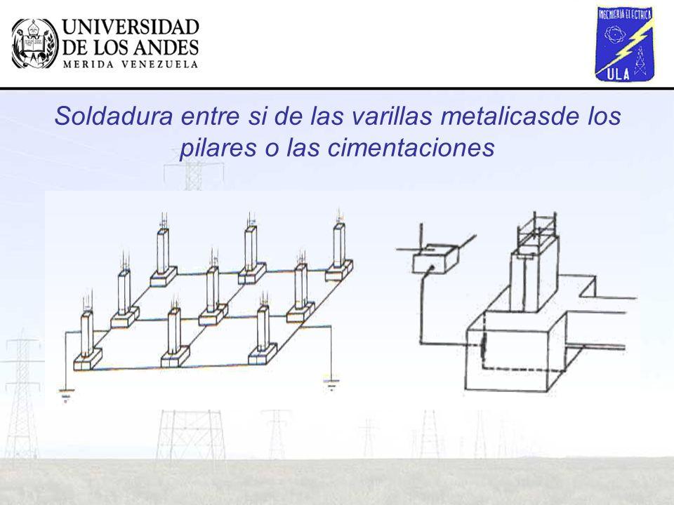 Soldadura entre si de las varillas metalicasde los pilares o las cimentaciones