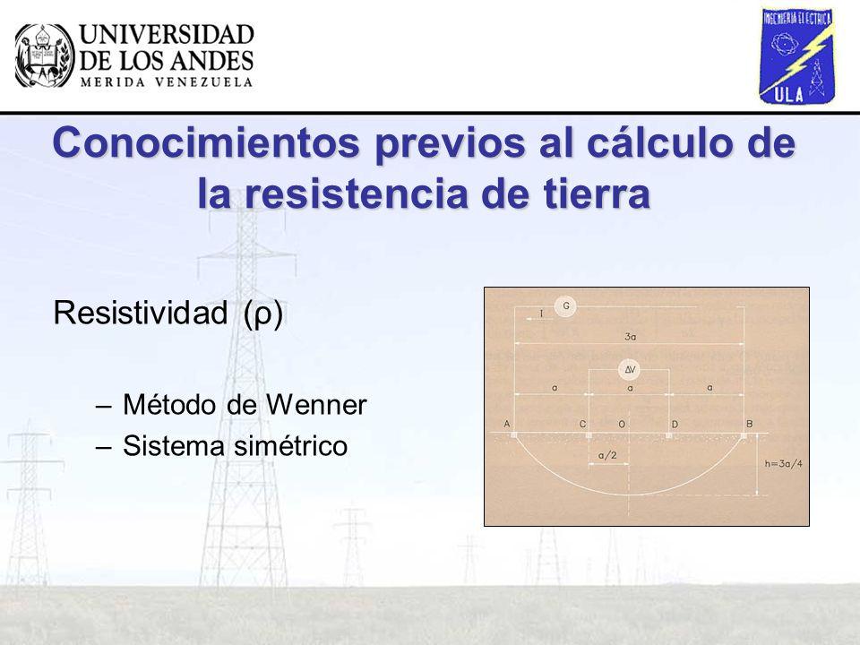 Conocimientos previos al cálculo de la resistencia de tierra Resistividad (ρ) –Método de Wenner –Sistema simétrico