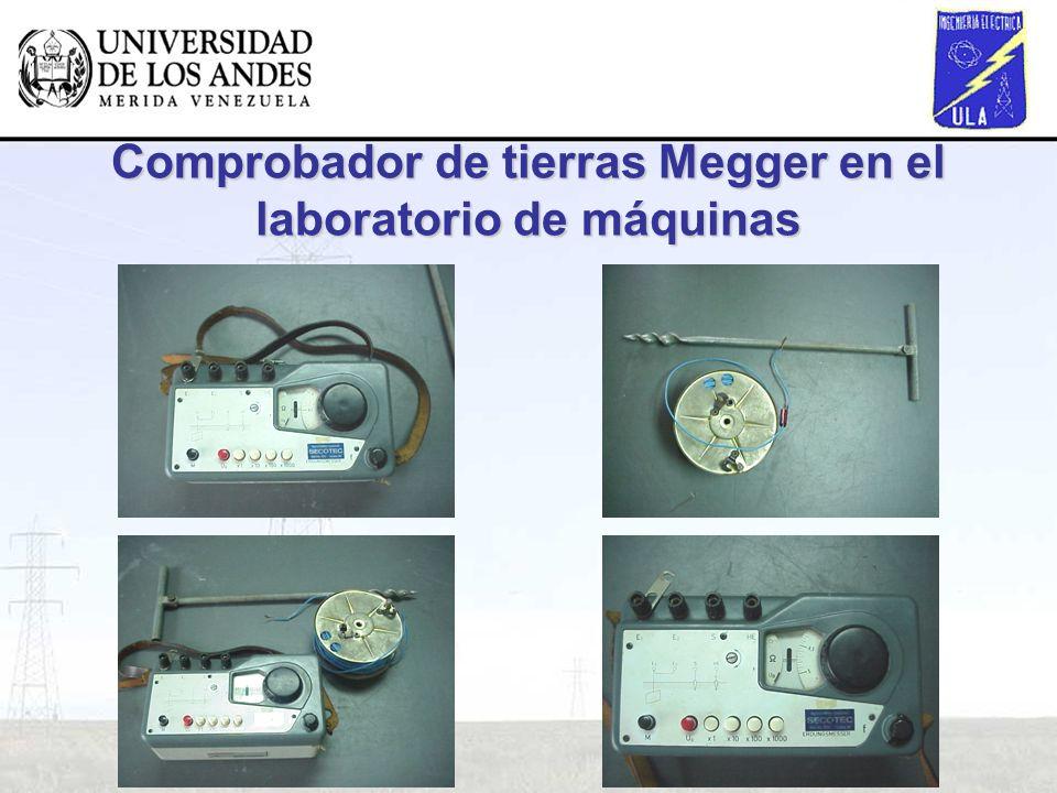 Comprobador de tierras Megger en el laboratorio de máquinas
