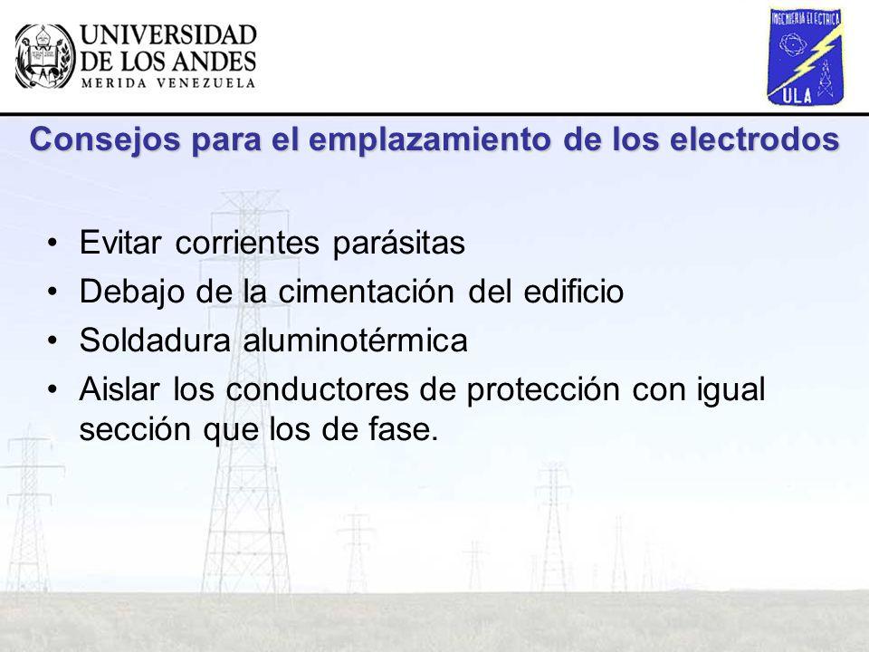 Consejos para el emplazamiento de los electrodos Evitar corrientes parásitas Debajo de la cimentación del edificio Soldadura aluminotérmica Aislar los