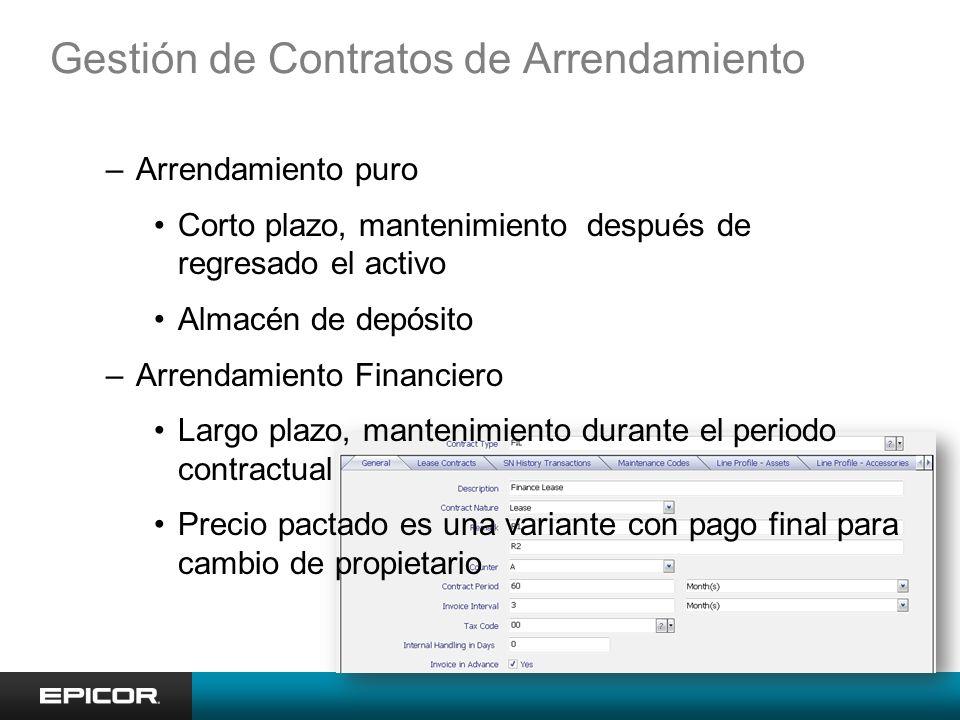 Gestión de Contratos de Arrendamiento –Arrendamiento puro Corto plazo, mantenimiento después de regresado el activo Almacén de depósito –Arrendamiento