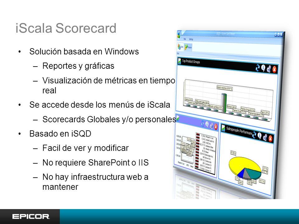 iScala Scorecard Solución basada en Windows –Reportes y gráficas –Visualización de métricas en tiempo real Se accede desde los menús de iScala –Scorecards Globales y/o personales Basado en iSQD –Facil de ver y modificar –No requiere SharePoint o IIS –No hay infraestructura web a mantener