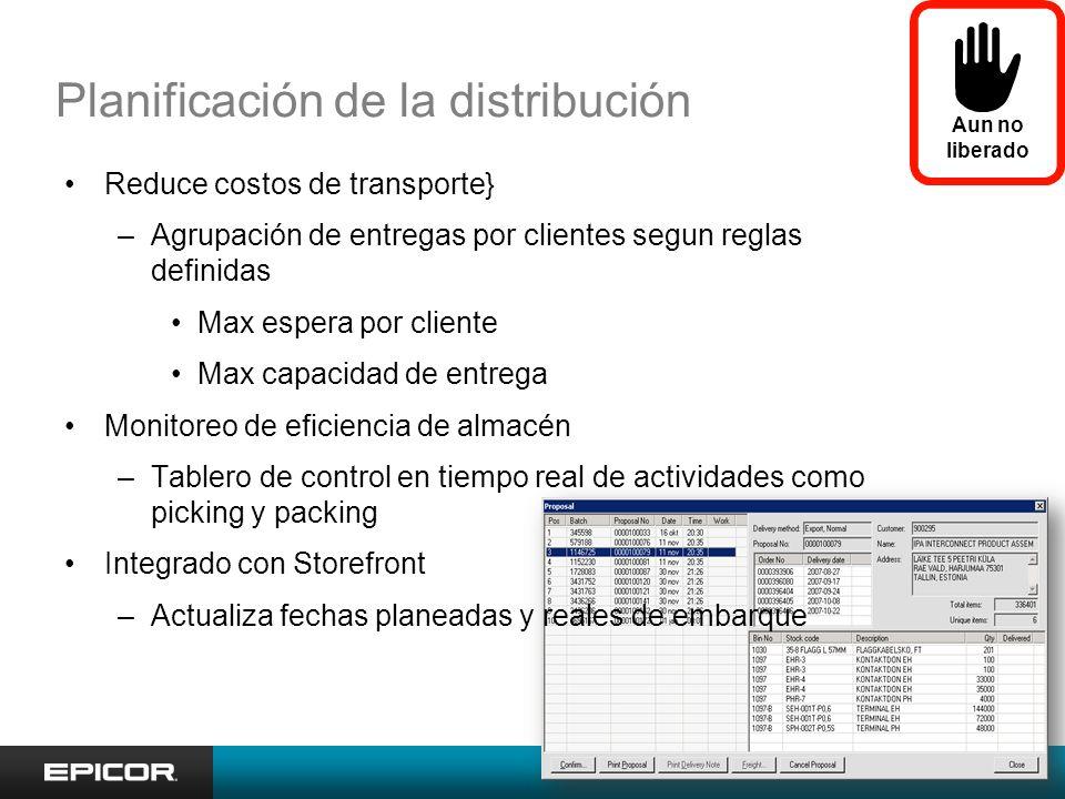 Planificación de la distribución Aun no liberado Reduce costos de transporte} –Agrupación de entregas por clientes segun reglas definidas Max espera p