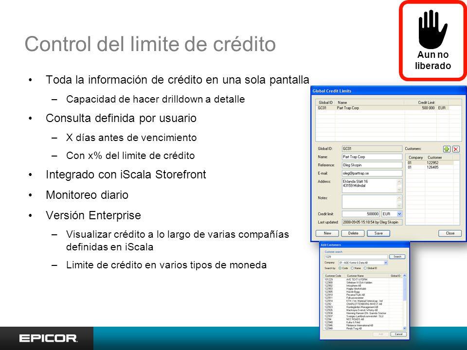 Control del limite de crédito Toda la información de crédito en una sola pantalla –Capacidad de hacer drilldown a detalle Consulta definida por usuari