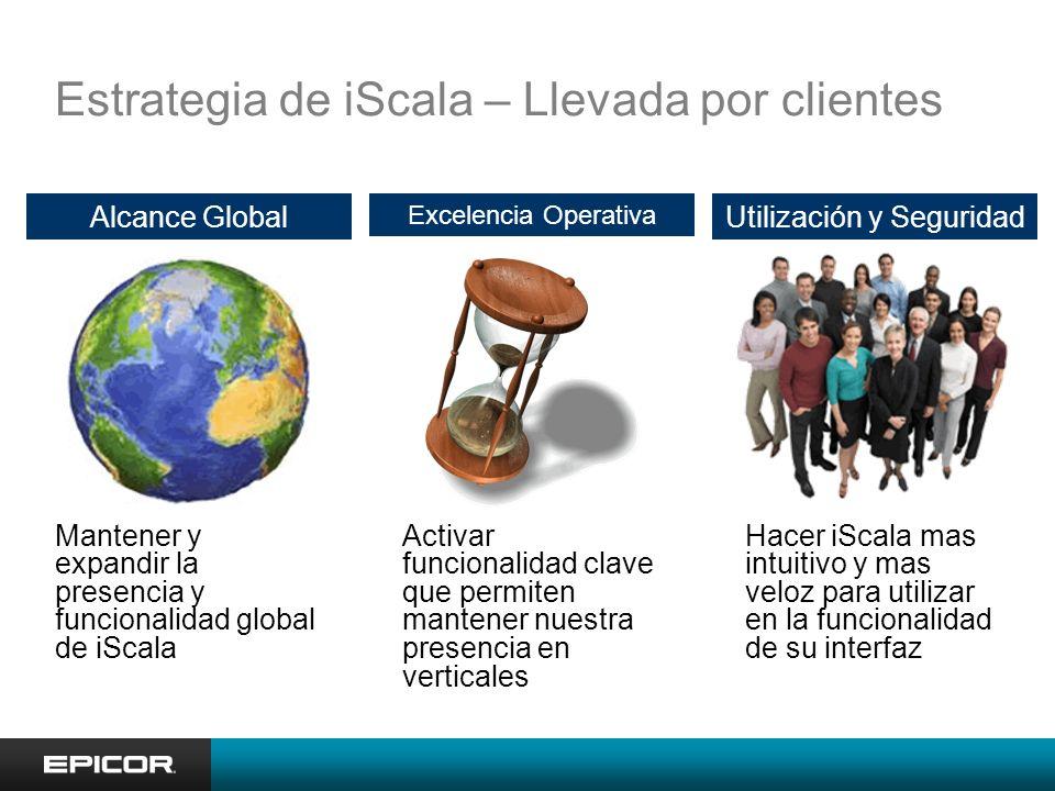 Estrategia de iScala – Llevada por clientes Alcance Global Mantener y expandir la presencia y funcionalidad global de iScala Utilización y Seguridad H