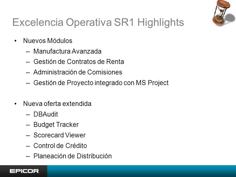 Excelencia Operativa SR1 Highlights Nuevos Módulos –Manufactura Avanzada –Gestión de Contratos de Renta –Administración de Comisiones –Gestión de Proy