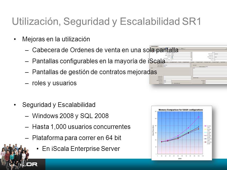 Utilización, Seguridad y Escalabilidad SR1 Mejoras en la utilización –Cabecera de Ordenes de venta en una sola pantalla –Pantallas configurables en la