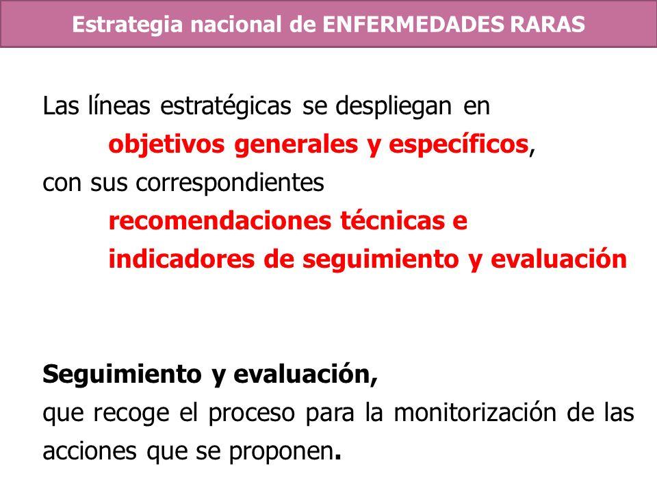 Las líneas estratégicas se despliegan en objetivos generales y específicos, con sus correspondientes recomendaciones técnicas e indicadores de seguimi