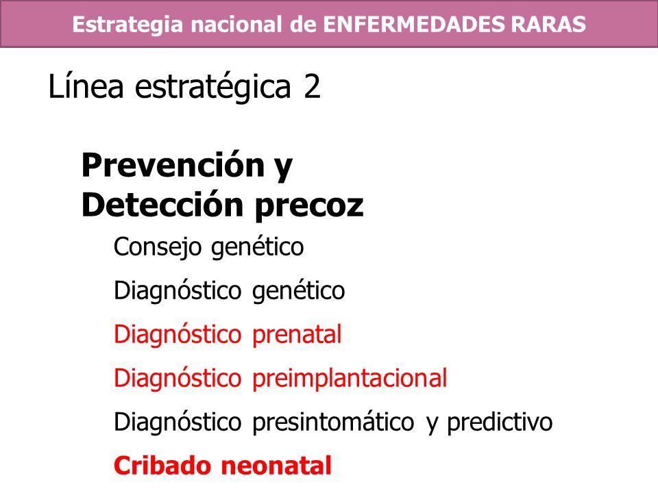 Línea estratégica 2 Prevención y Detección precoz Consejo genético Diagnóstico genético Diagnóstico prenatal Diagnóstico preimplantacional Diagnóstico