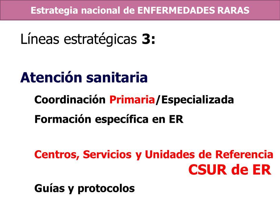 Líneas estratégicas 3: Atención sanitaria Coordinación Primaria/Especializada Formación específica en ER Centros, Servicios y Unidades de Referencia C