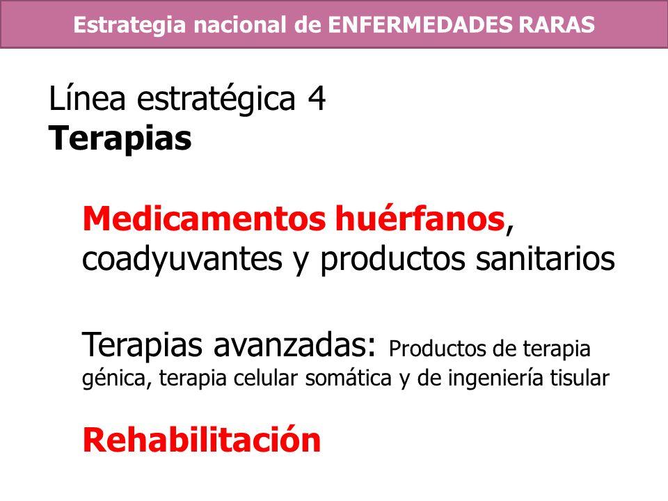 Línea estratégica 4 Terapias Medicamentos huérfanos, coadyuvantes y productos sanitarios Terapias avanzadas: Productos de terapia génica, terapia celu