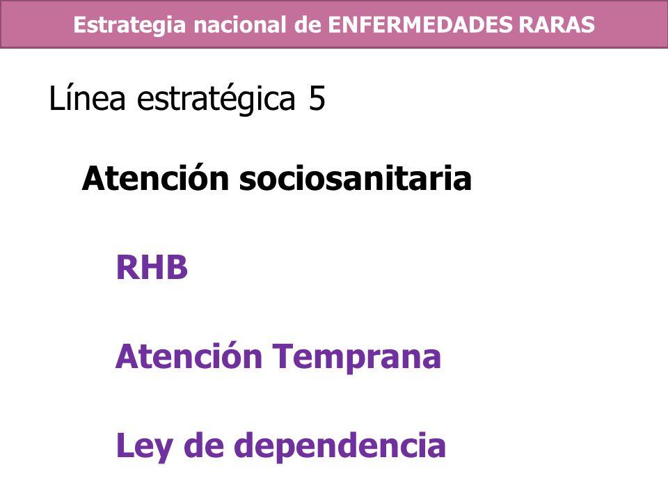 Línea estratégica 5 Atención sociosanitaria RHB Atención Temprana Ley de dependencia Estrategia nacional de ENFERMEDADES RARAS