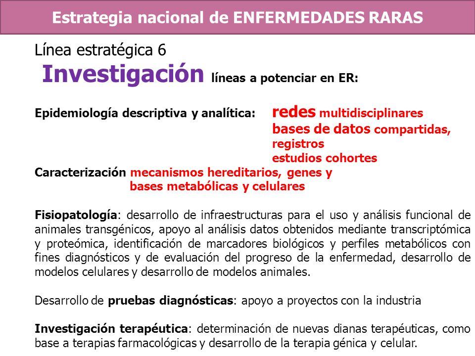 Línea estratégica 6 Investigación líneas a potenciar en ER: Epidemiología descriptiva y analítica: redes multidisciplinares bases de datos compartidas
