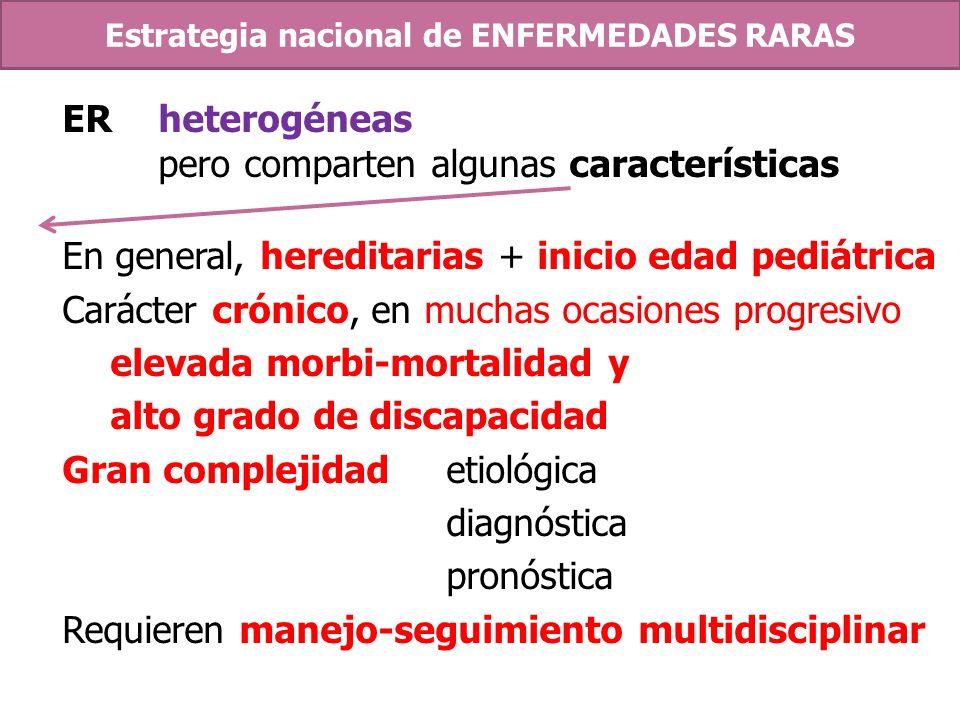 ERheterogéneas pero comparten algunas características En general, hereditarias + inicio edad pediátrica Carácter crónico, en muchas ocasiones progresi