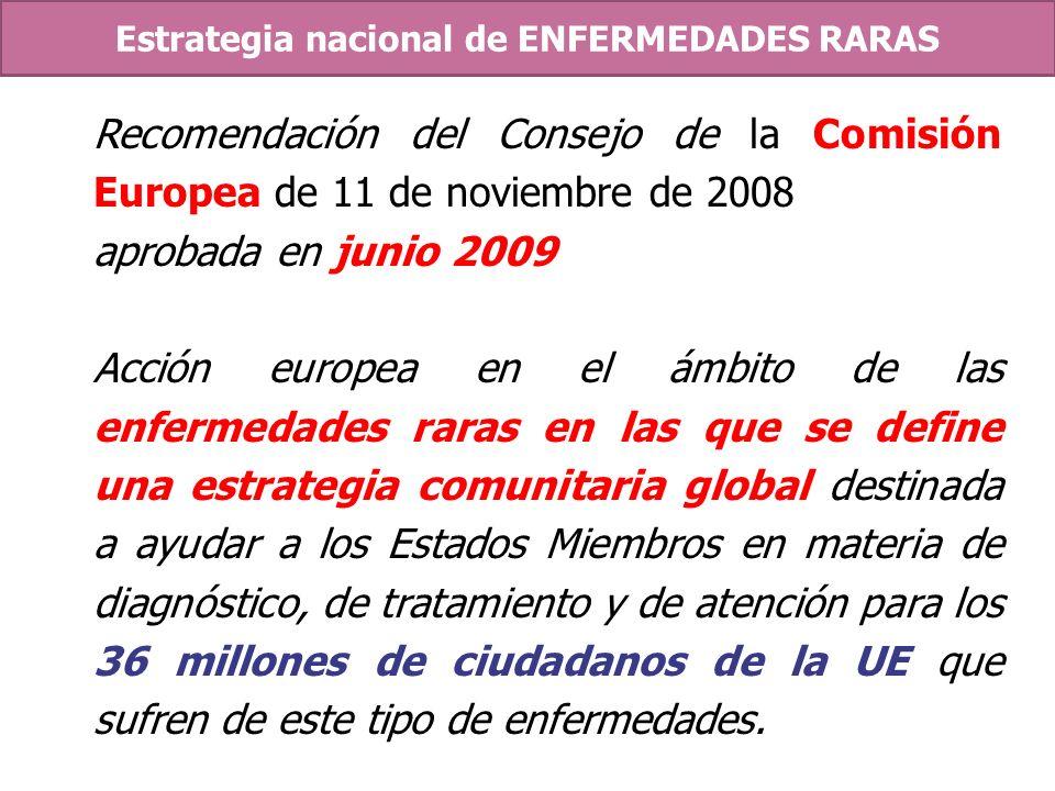 Recomendación del Consejo de la Comisión Europea de 11 de noviembre de 2008 aprobada en junio 2009 Acción europea en el ámbito de las enfermedades rar