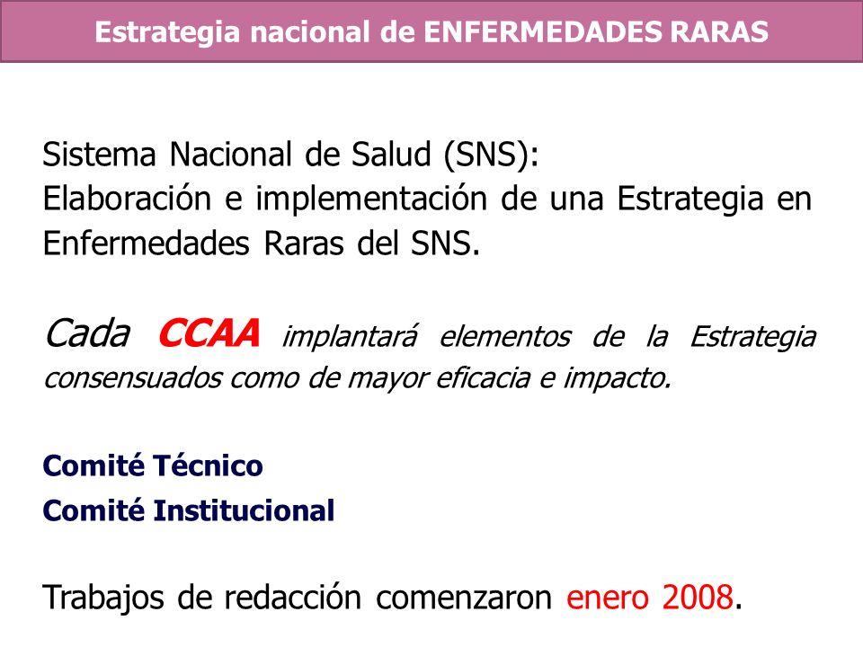 Sistema Nacional de Salud (SNS): Elaboración e implementación de una Estrategia en Enfermedades Raras del SNS. Cada CCAA implantará elementos de la Es