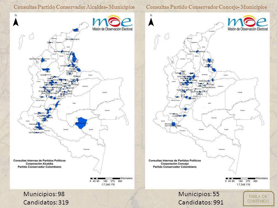 Consultas Partido Liberal Alcaldes- MunicipiosConsultas Partido Liberal Concejo- Municipios Municipios: 30 Candidatos: 104 Municipios: 3 Candidatos: 64 TABLA DE CONTENIDO