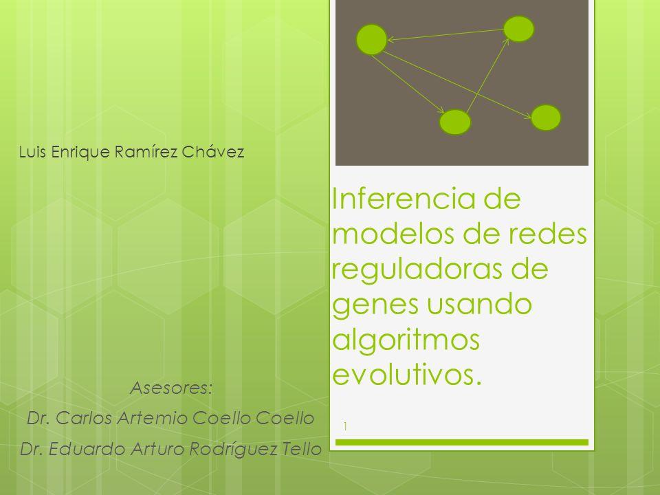 Inferencia de modelos de redes reguladoras de genes usando algoritmos evolutivos. Luis Enrique Ramírez Chávez Asesores: Dr. Carlos Artemio Coello Coel