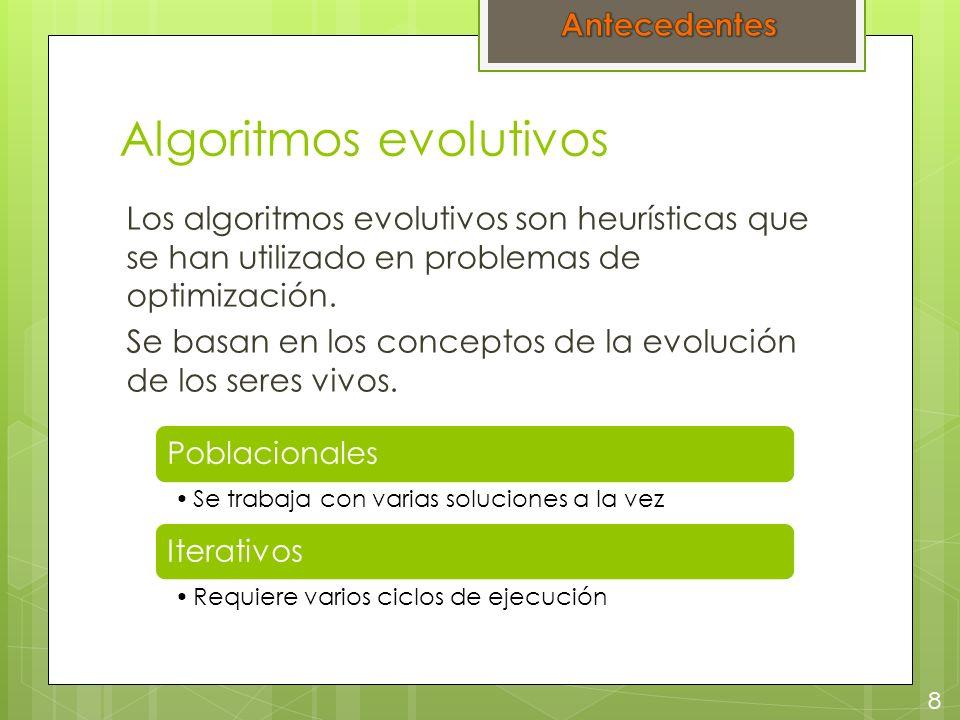 Algoritmos evolutivos Los algoritmos evolutivos son heurísticas que se han utilizado en problemas de optimización. Se basan en los conceptos de la evo