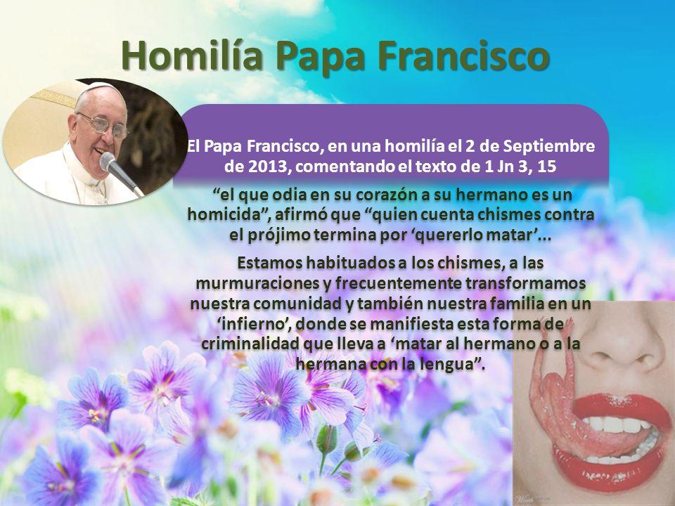 El Papa Francisco, en una homilía el 2 de Septiembre de 2013, comentando el texto de 1 Jn 3, 15 el que odia en su corazón a su hermano es un homicida,