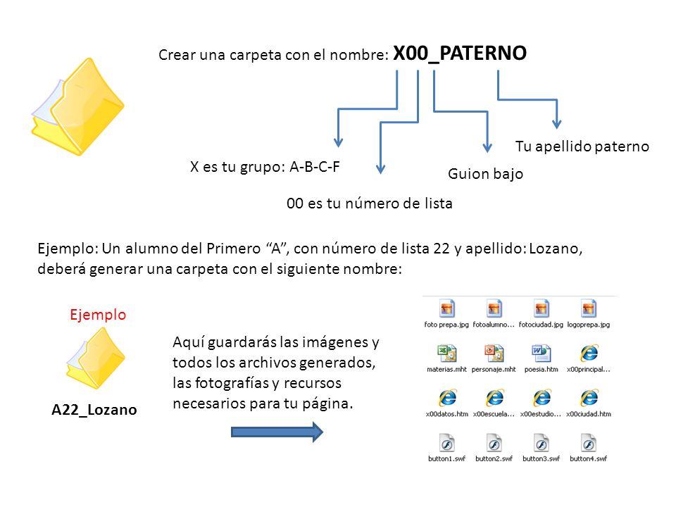 Crear una carpeta con el nombre: X00_PATERNO X es tu grupo: A-B-C-F 00 es tu número de lista Guion bajo Tu apellido paterno Ejemplo: Un alumno del Pri