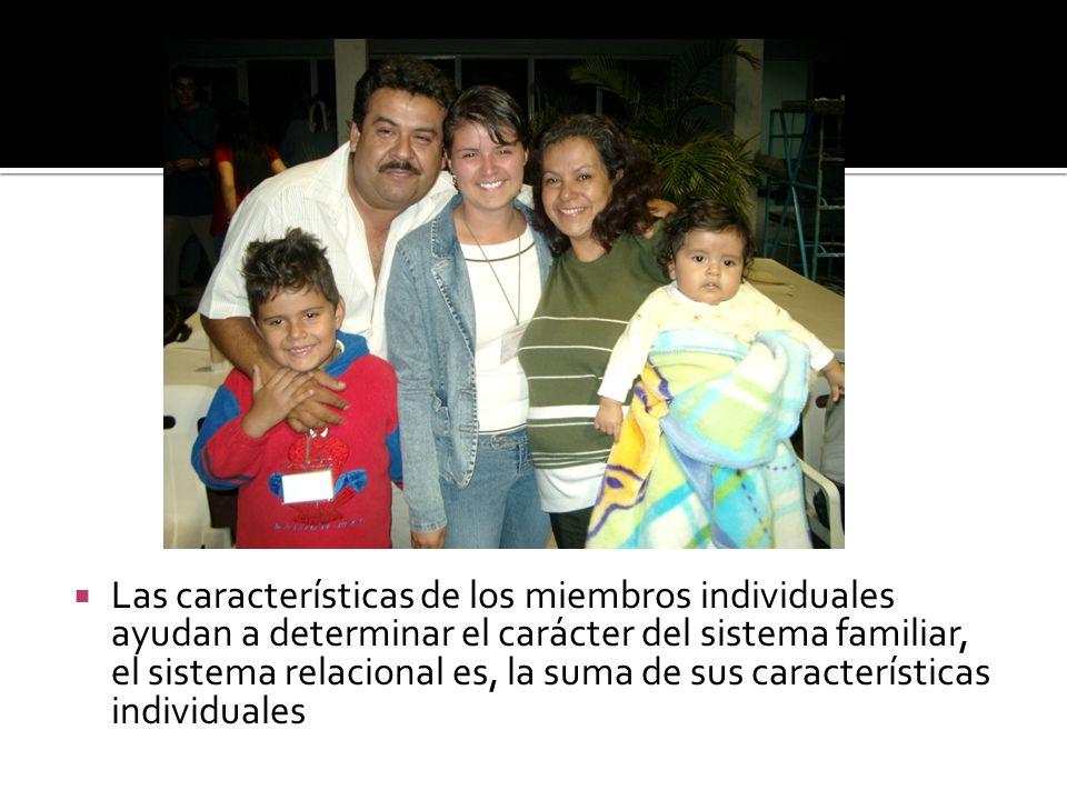 Las características de los miembros individuales ayudan a determinar el carácter del sistema familiar, el sistema relacional es, la suma de sus caract
