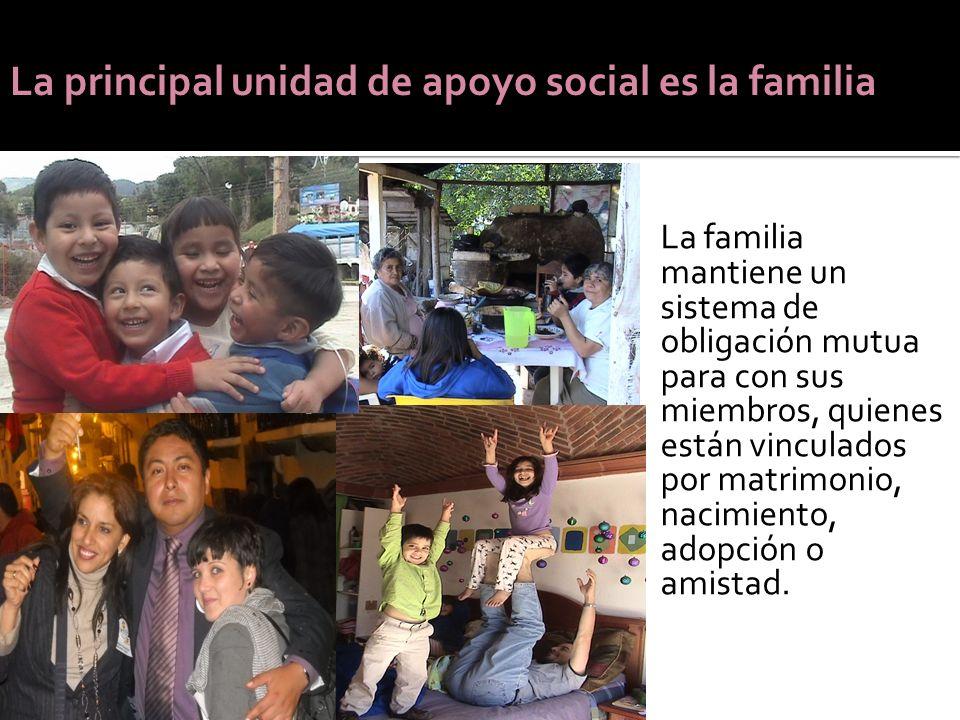 La familia mantiene un sistema de obligación mutua para con sus miembros, quienes están vinculados por matrimonio, nacimiento, adopción o amistad. La