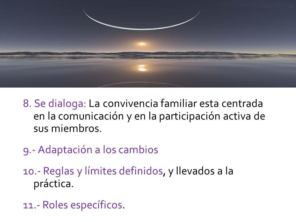 8. Se dialoga: La convivencia familiar esta centrada en la comunicación y en la participación activa de sus miembros. 9.- Adaptación a los cambios 10.