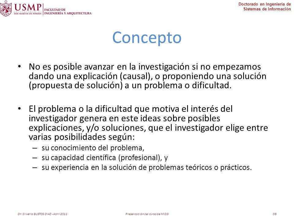 Doctorado en Ingeniería de Sistemas de Información Concepto No es posible avanzar en la investigación si no empezamos dando una explicación (causal), o proponiendo una solución (propuesta de solución) a un problema o dificultad.