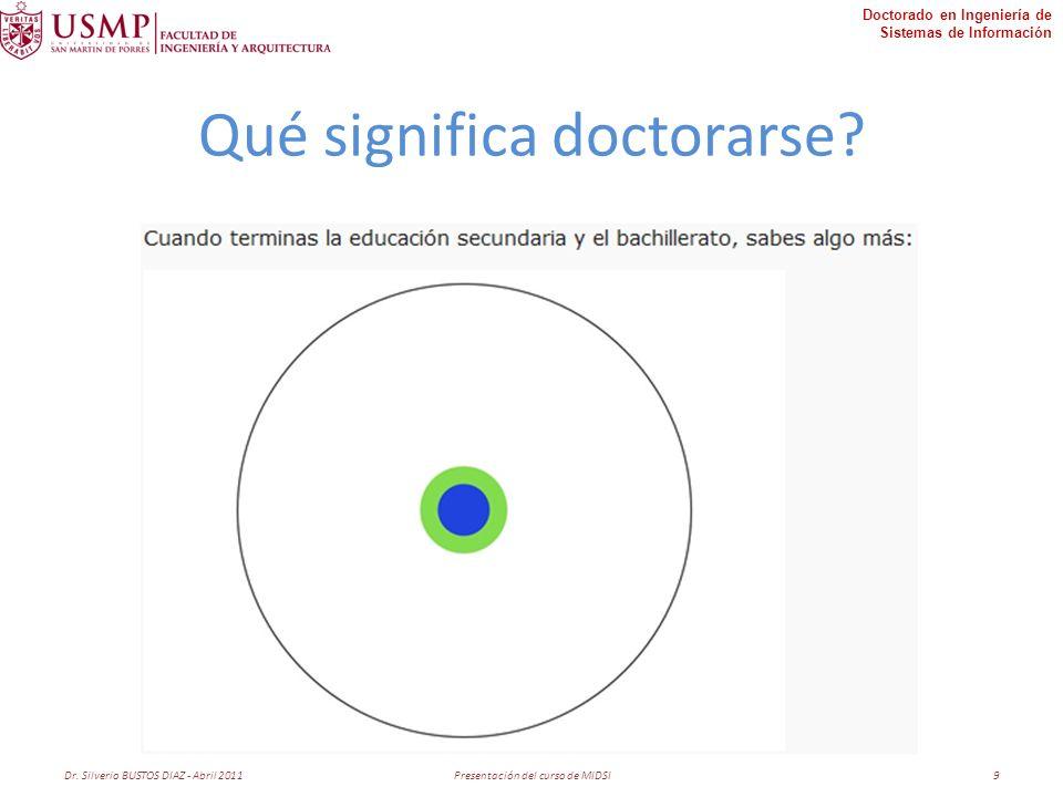 Doctorado en Ingeniería de Sistemas de Información Qué significa doctorarse.